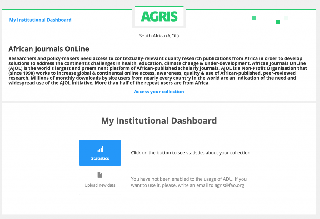 AGRIS Institutional Dashboard